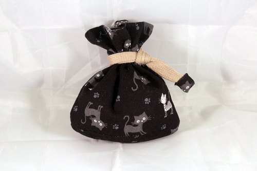 Mini bag pocket with bag bottom - black jumping cat