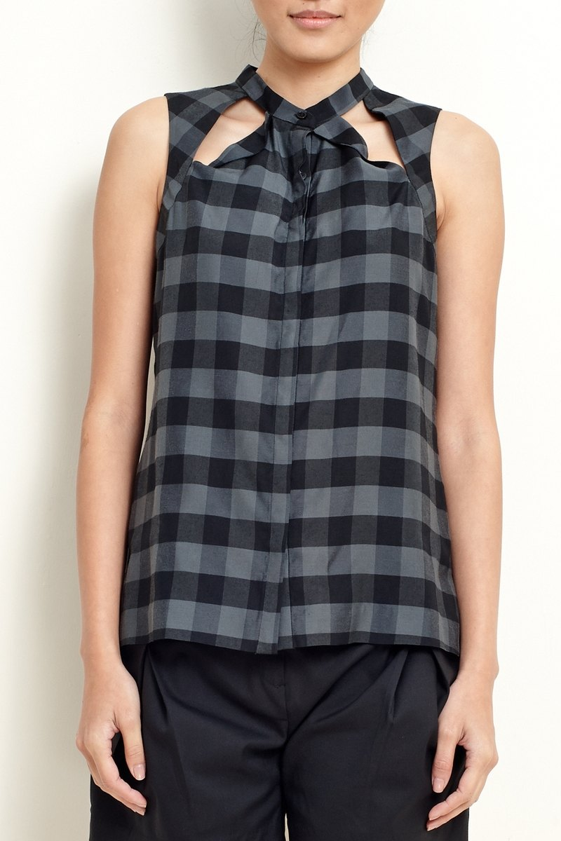 Plaid Shirt Tank with Cut Detail-