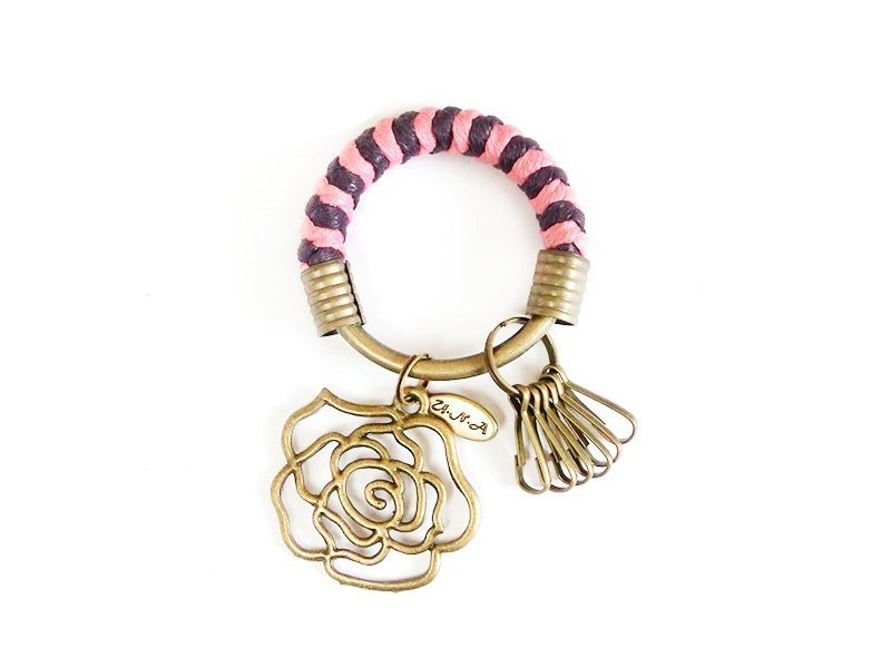 [Na UNA- excellent hand-made] key ring (small) 5.3CM + pink + purple roses hand-woven wax rope hoop customization