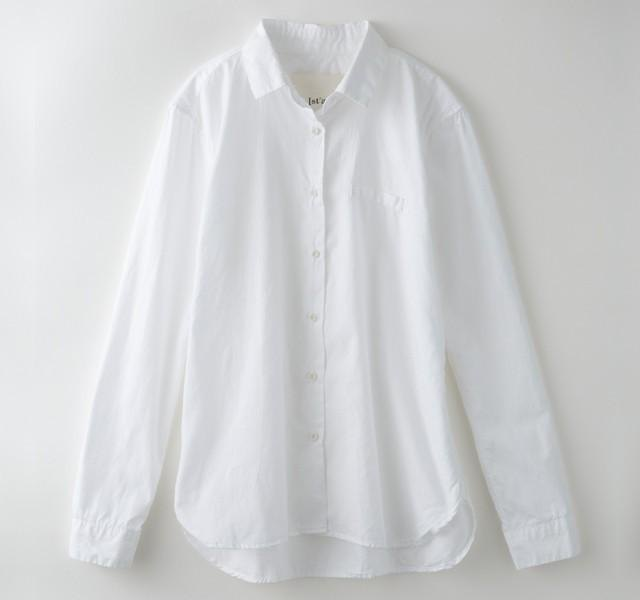 【Botanical dyed】 White camelia dyed simple basic shirt