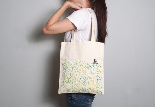 Hand-painted handprints Peibu bag [] prairie deer sided pattern hand / shoulder