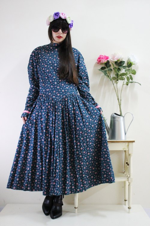 F1558 (Vintage) green pink flowers big wave vintage skirt long-sleeved cotton dress (wedding / picnic / party)