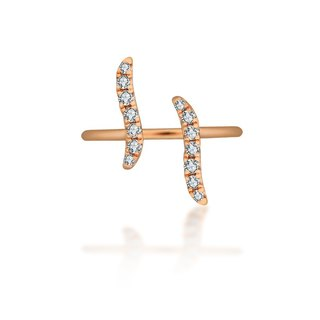 18k Gold Wavy Diamond Midi / Pinky Ring