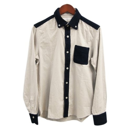 "Japanese unique fabric button-down shirt with ""Bingo Fishiori"" natural indigo deying"