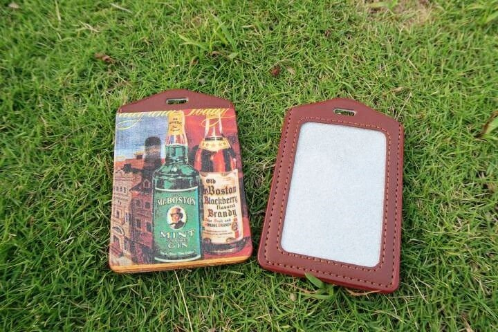 Hand dermal - leather bottle ticket folder / document sets / badge