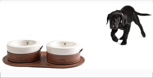 Wes [W & S] elegant ceramic feeding bowl - brown, black