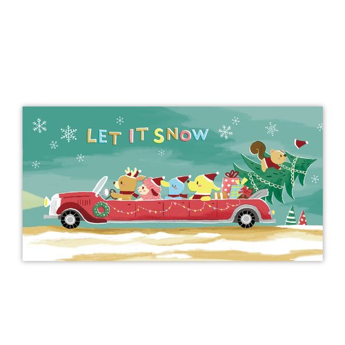 [Poca] Christmas postcard illustration: Modern sleigh (No. 28)