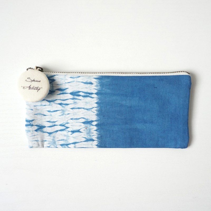 S.A x Straw, Indigo dyed Handmade Abstract Pattern Pencil Case
