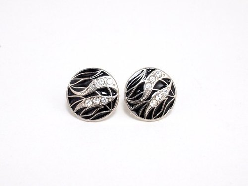 Circle dot swaying Miscanthus Stainless Steel Ear Stud Earrings 170