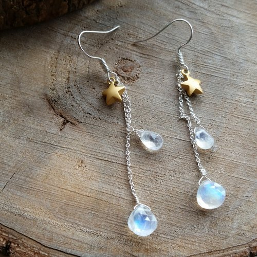 925 silver earrings with moonstone and star l strong blue vitreous moonstone / Moonstone star 925 sterling silver long earrings