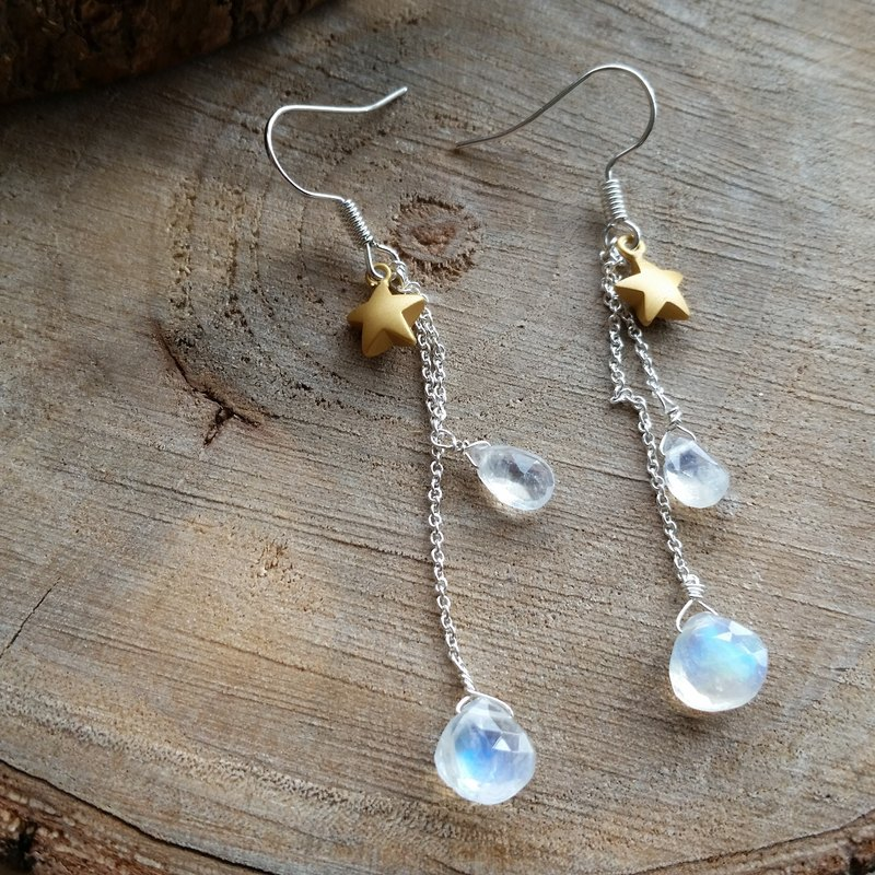 925 silver earring with moonstone and star l強藍光玻璃體月光石/月亮石星星  925純銀長耳環