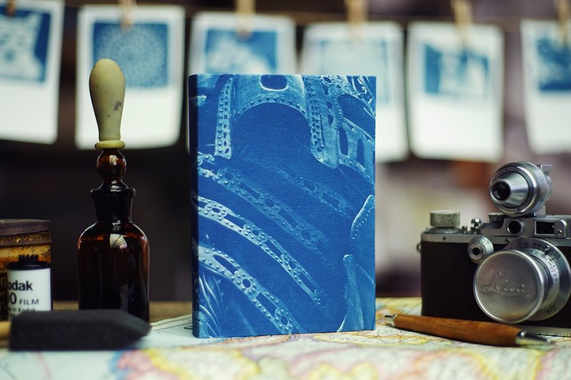 Handmade cyanotype notebook - ancient machinery