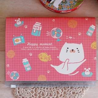 *Mori Shu*Ticket Collection - Bun cat enthusiasm for food - Red (with storage book cover)