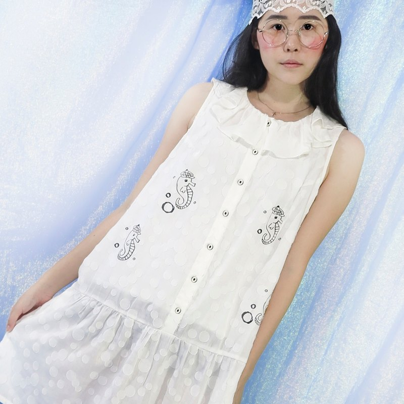 Hippocampus bubble lotus leaf collar dress