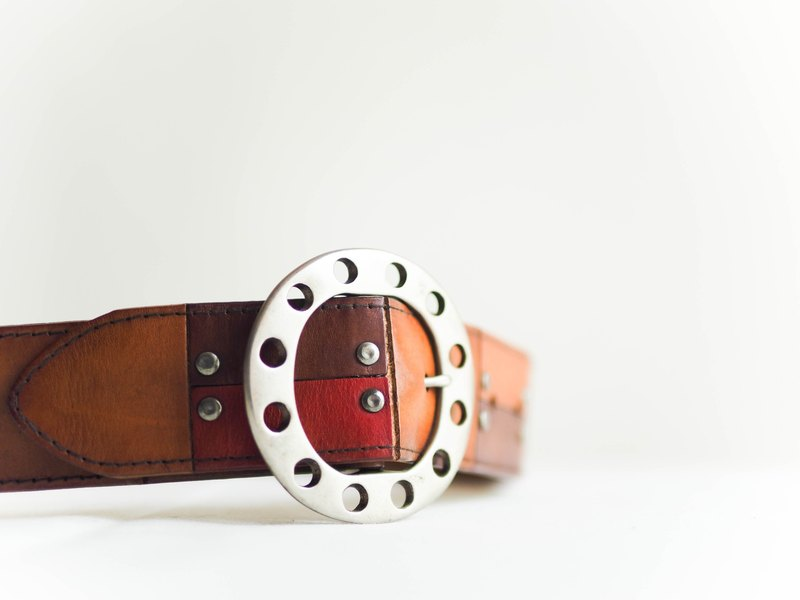 River Hill - mixed colors rivet leather belt antique vintage early neutral nation retro special belt