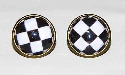 Small squares - black and white earrings (auricular / ear clip)