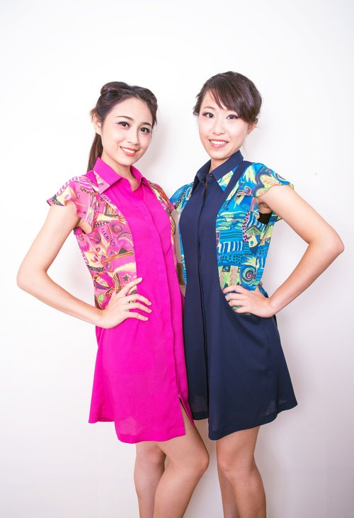 ArtJill- painted pattern chiffon dress with a collar
