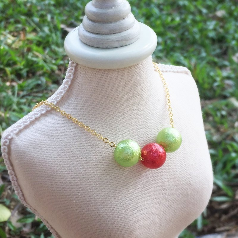 """LaPerle"" red-green-red-green imitation cotton pearl necklace 16k gold plated brass necklace Handmade Christmas gifts"