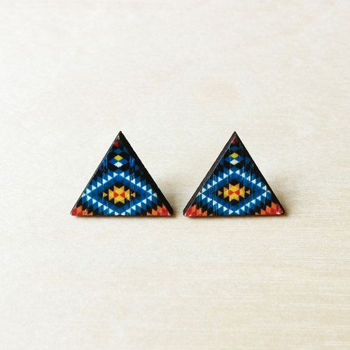 Color wooden triangle earrings