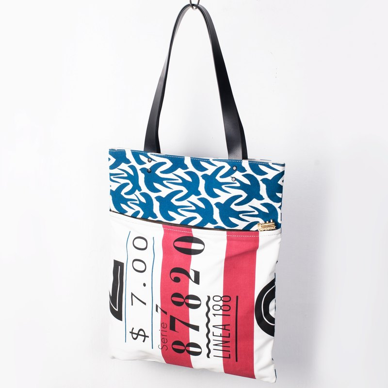 "MOTIVE Tote Bag (WHISTLE) train-themed True Pi Tuote canvas bag ""birds where to go."""
