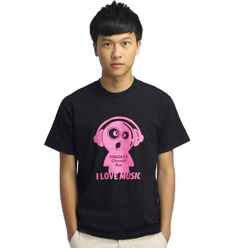 20% coupon Doodles boys casual black T-shirt, Q version of the lovely I Love Music Character