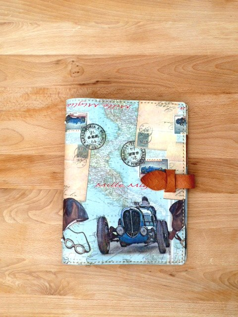 Antique car detachable leather Binder Organizer / notebook / book clothes A5
