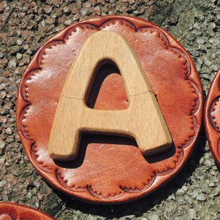 * Wind * Handwritten letters badge / pin / brooch / leather / wood - the letter A