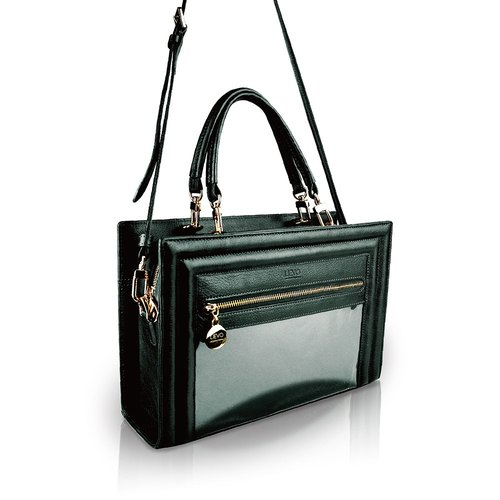 [LIEVO] SHOW - Leather carry side bag dual-use _ deep dark green (customized Ray carving services)