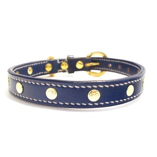 [Handsome hand-made leather collar double-thick collar M]