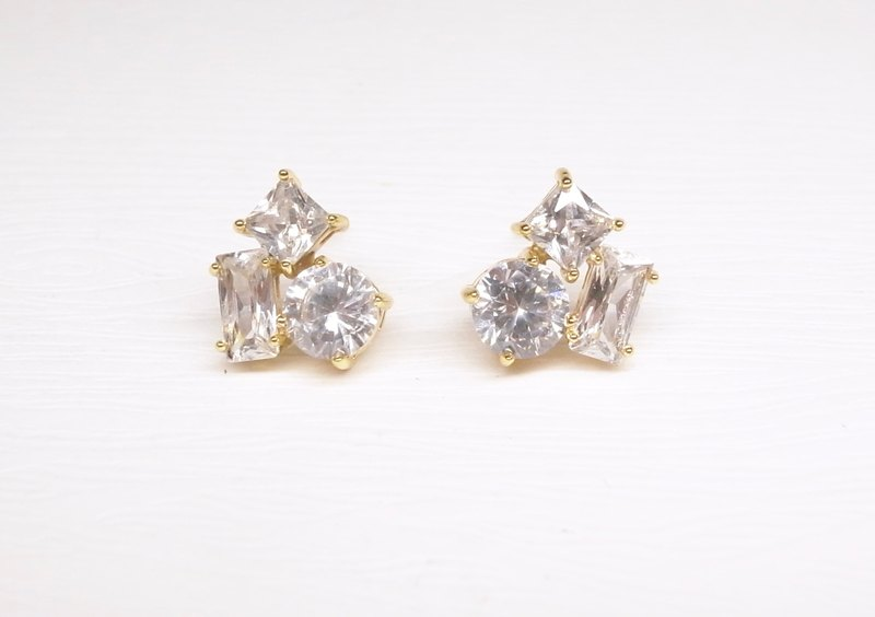 """Ermao Silver"" irregular brass CZ Earrings"