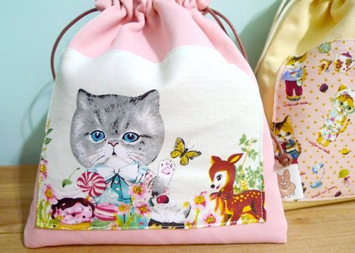Colorful pouch. Playful cat