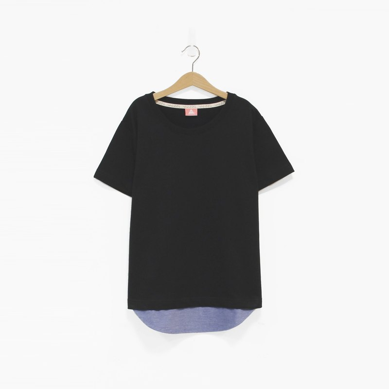 Black brushed fabric hem stitching Blue Tee - M No. SOLD OUT
