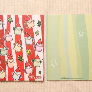 Christmas hat toast elf - postcard Christmas card (with envelope)