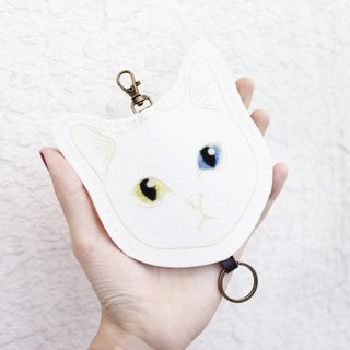 Cat- cat Series - wool felt Wallets Key sets / wool felt key sets &lt; <White Cat 白貓> &gt; Wool felt gogoro key sets