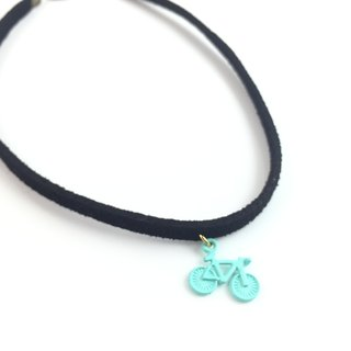 """Bluish green bicycle Necklace"""