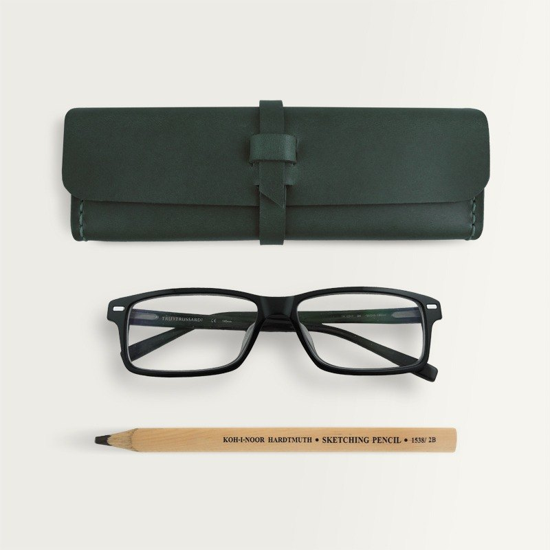 Three-dimensional square pencil case/glasses case -- Forest Green