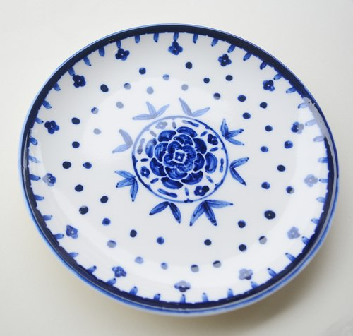 Hand-painted plate 7-inch cake pan - blue rose (spot)
