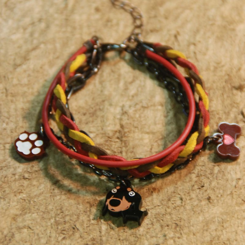 Short-legged dachshund / coffee footprints + bone / hair child / multi-layered braided rope bracelet /
