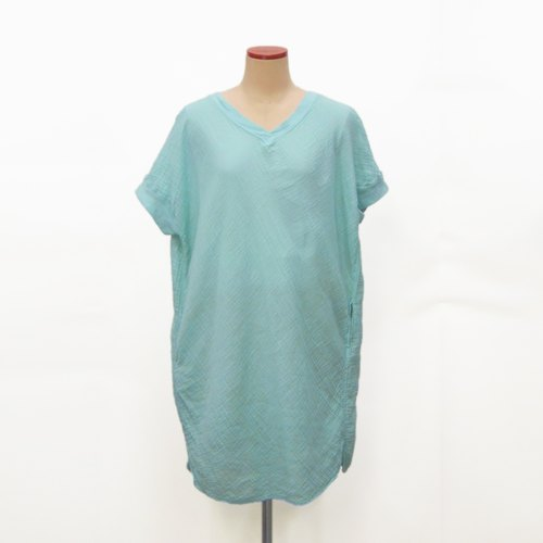 【Botanical dyed】 Hydrangea dyed cotton double gauze relax tunic/mini dress