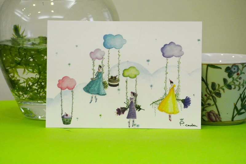 Mind SPA clouds on afternoon tea postcards