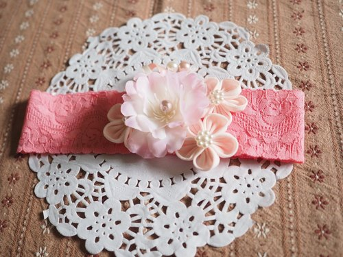 Handmade Elastic Headband with fabric sakura flowers