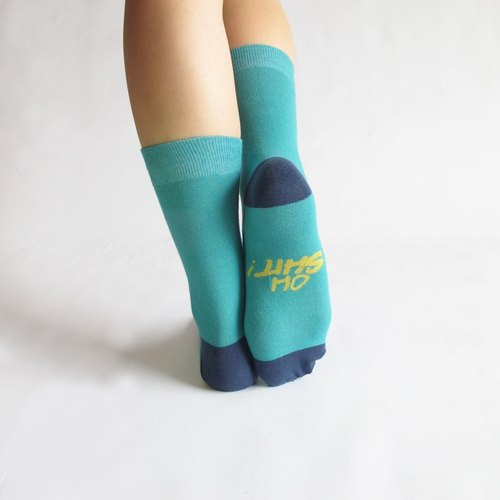Oh shit! Text-based gift socks / di minute mud MIT Shetou blue socks