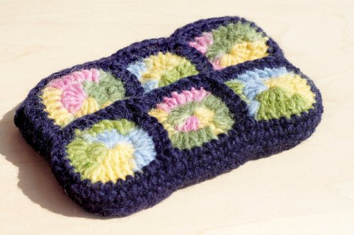A limited edition handmade wool crochet rectangular purse / Storage bag / Cosmetic Bag - Rainbow Flower Forest