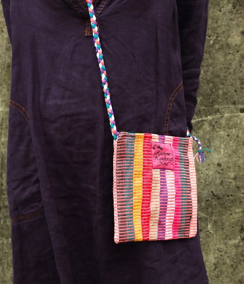【Grooving the beats】Handmade Hand Woven Side Bag / Cross Body Bag(Pink)