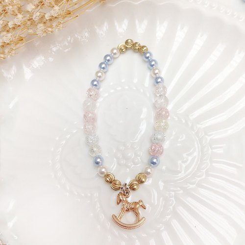 Santa Claus ◆ Pink - natural stone / Ice crystal / Swarovski crystal pearl / brass bracelet hand ring was custom design