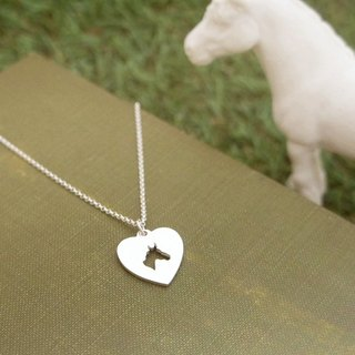 Love pony Silver Necklace (18-inch thin chain)
