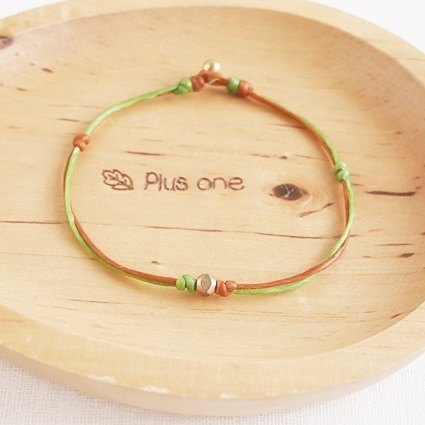 Silk rope wax vs. copper beads bracelet - double strand hop color models [Green] autumn (grass green + brown) ♥ basic models can be customized ♥ OldNew Lady