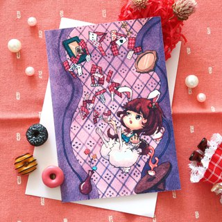 【Pin】White Rabbit from Alice in Wonderful │Print│Birthday card with envelope at your choice