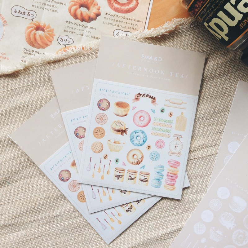 Afternoon Tea Illustrator Sticker Card Set / Dessert / Biscuits