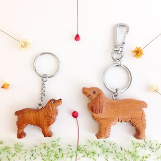 [Handmade wooden x dog series] * brown cocker keychain / strap